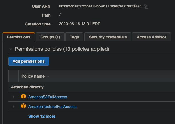 AWS IAM User Example