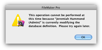 FileMaker Table Locked Error Message screenshot