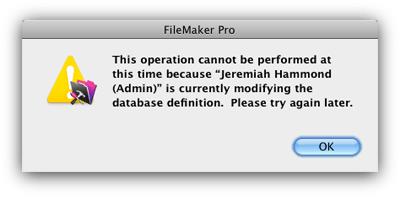 FileMaker Table Locked Error Message screenshot