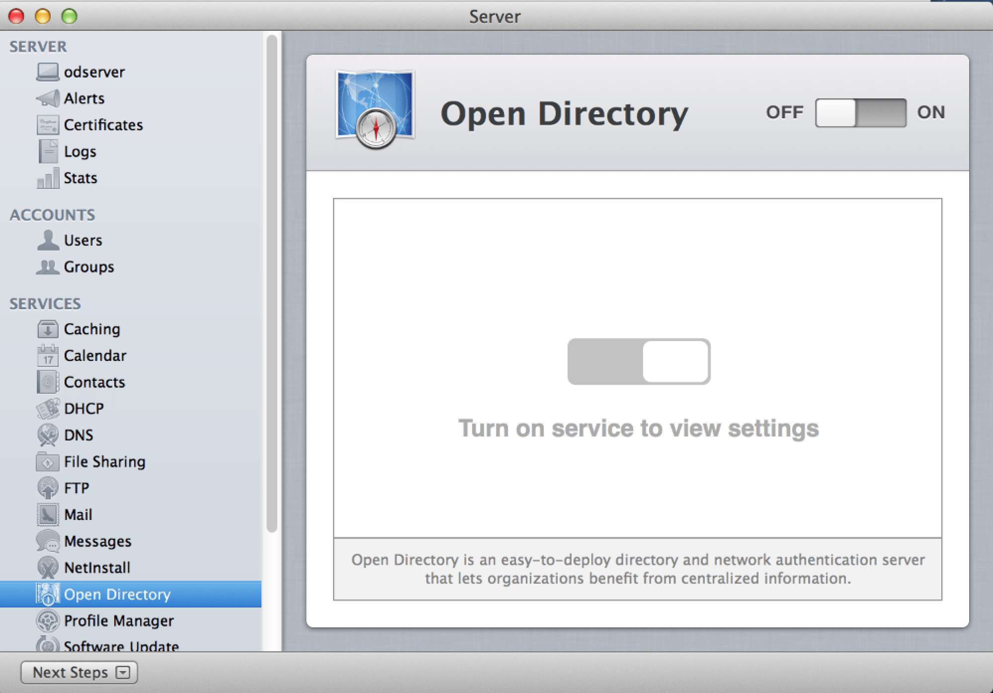 Screenshot 2.1 - Open Directory Setup - Select Open Directory