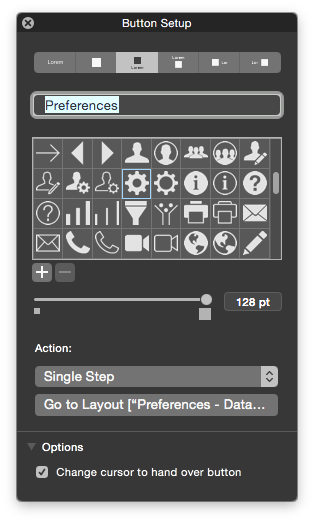 FileMaker 14 Button Setup