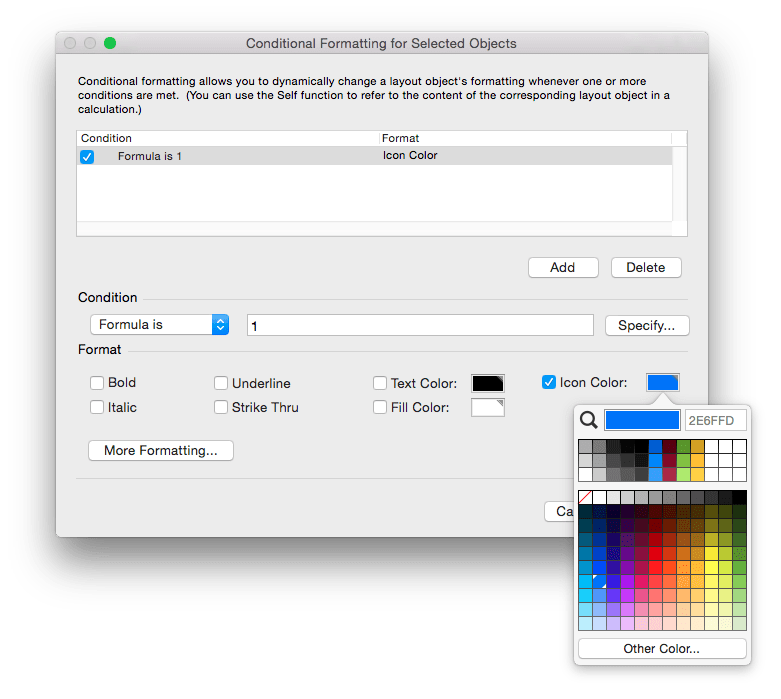 FileMaker 14 Conditional Formatting