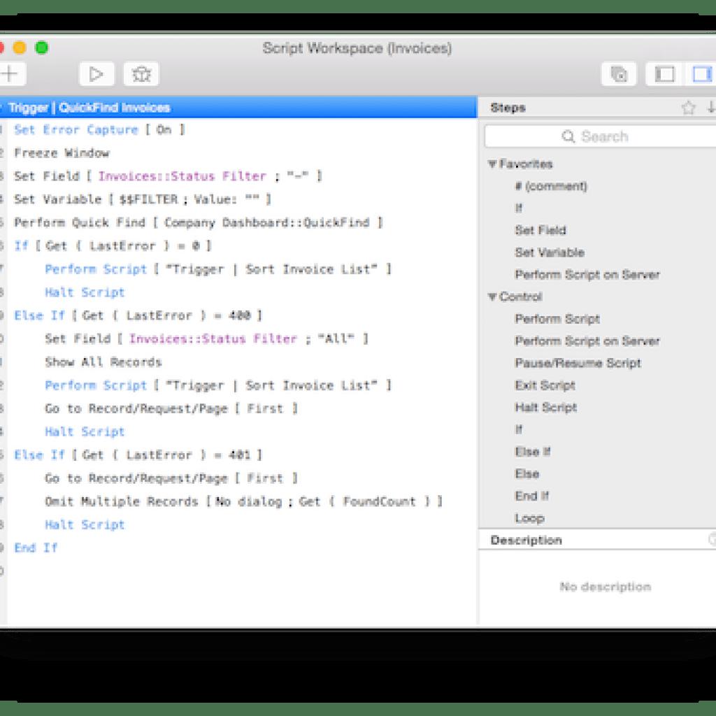 FileMaker Script Workspace | DB Services