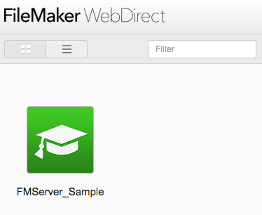 FileMaker WebDirect Launch Page