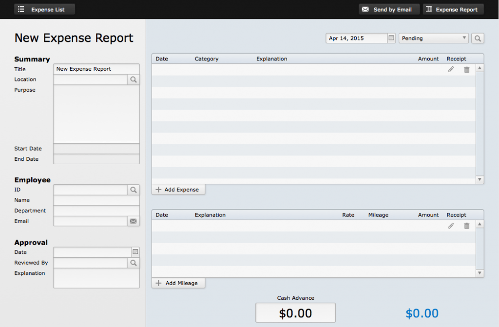 FileMaker Expense Report Starter Solution