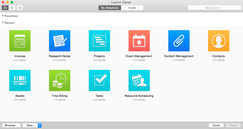 FileMaker 14 Launch Center