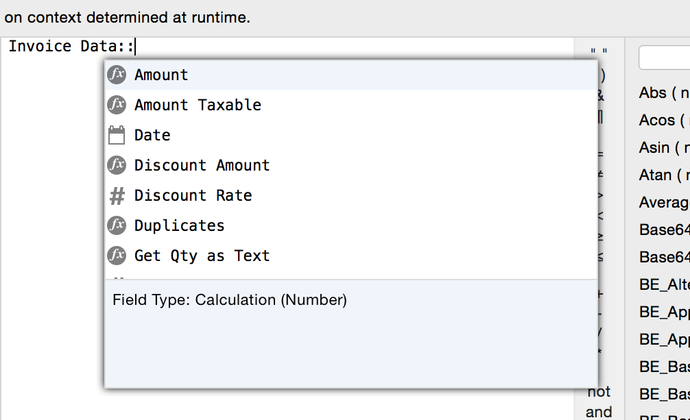 FileMaker Calculation Table Autocomplete