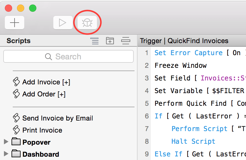 FileMaker Debug Button