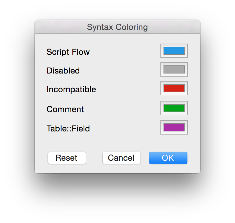 FileMaker Syntax Coloring Settings