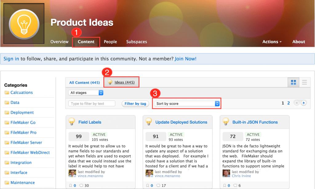 FileMaker Product Ideas Top Score