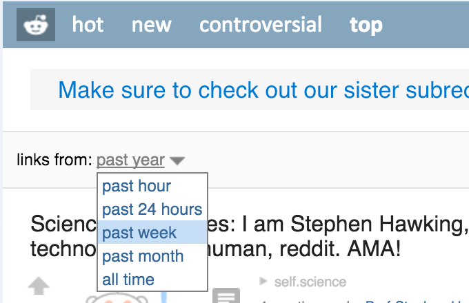 Reddit Top Time Period