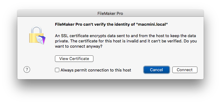 FileMaker 15 SSL Certificate Error