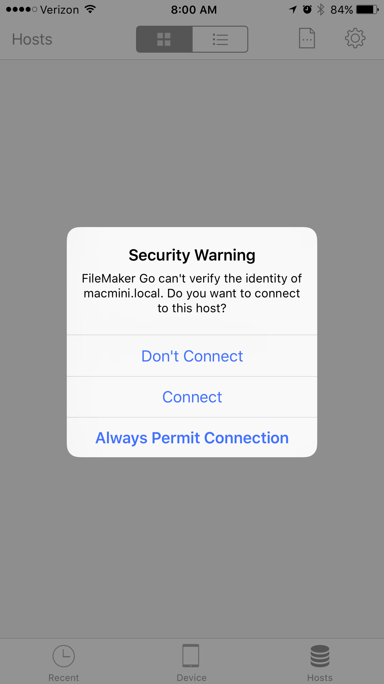 FileMaker Go Security Connection Warning