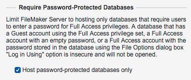 Security Require Password Protected Databases