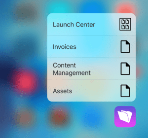 FileMaker Go 15 3D Touch Menu