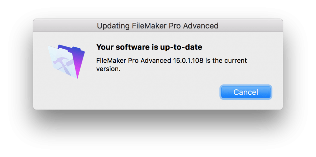 FileMaker Up To Date Message