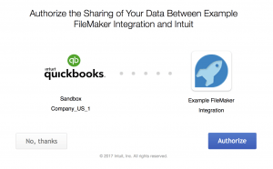FileMaker QuickBooks Online authentication