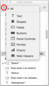 FileMaker Layout Objects Window Filter Options