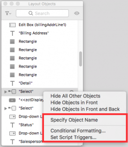 FileMaker Layout Objects Window Set Field