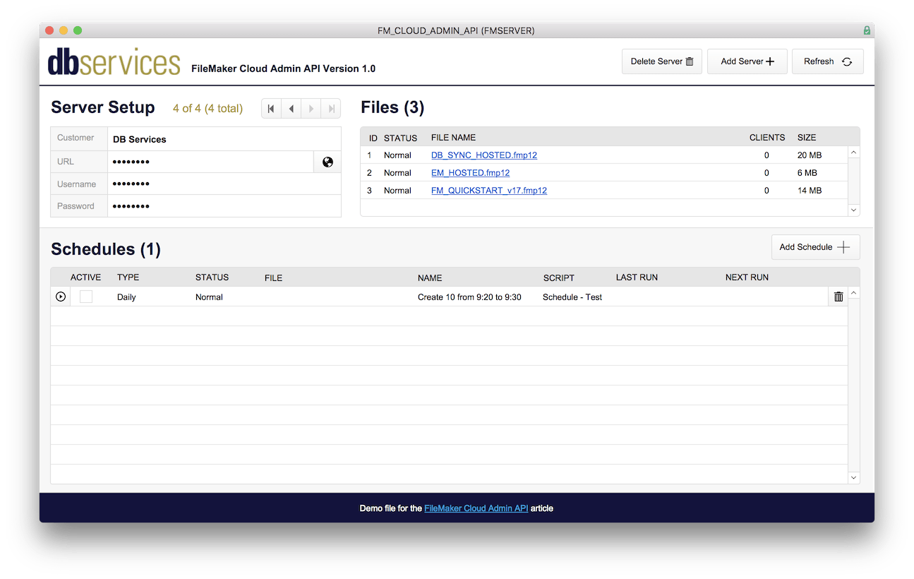 FileMaker Cloud Schedule Setup
