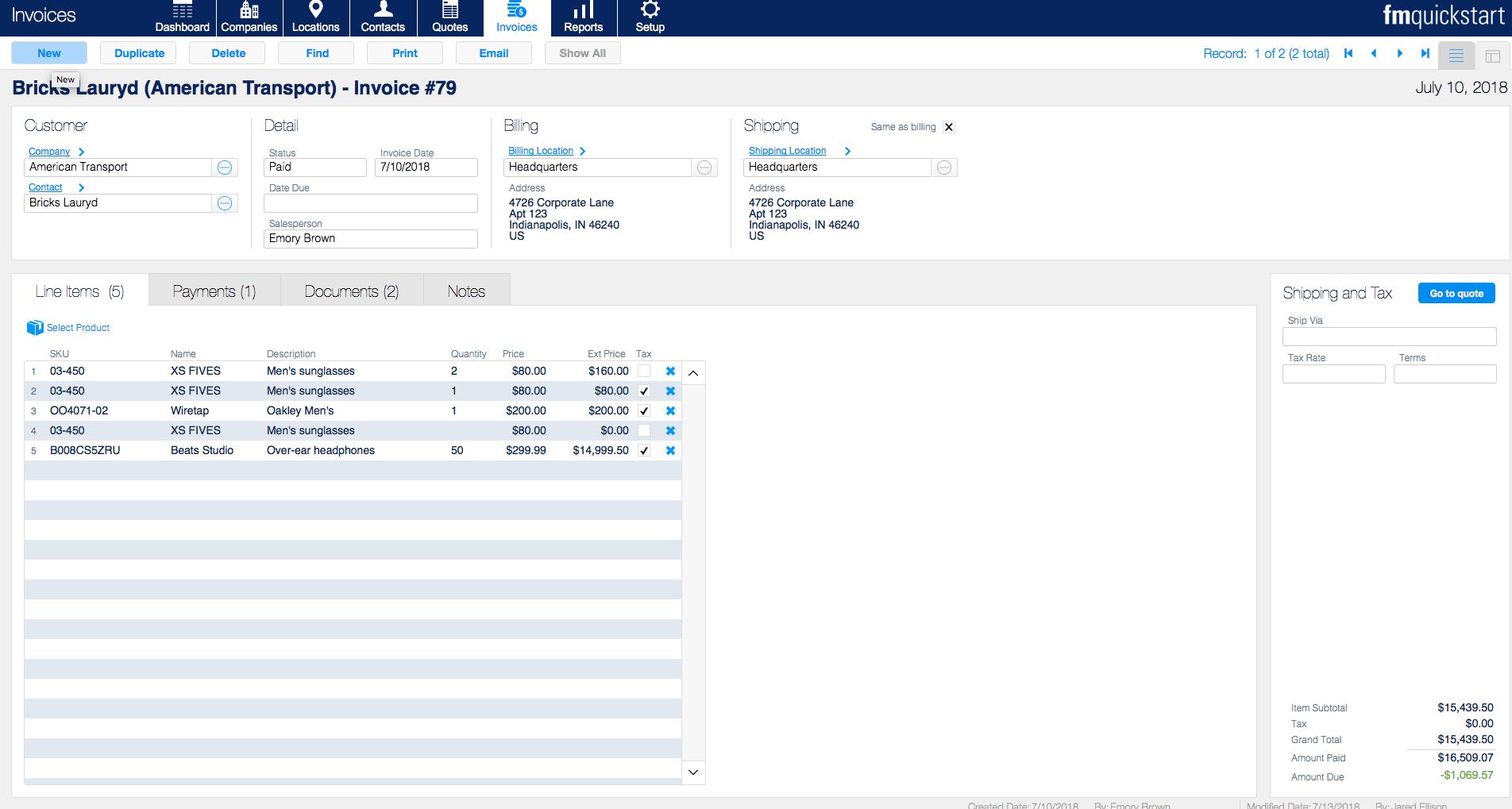 fm quickstart 17 invoices