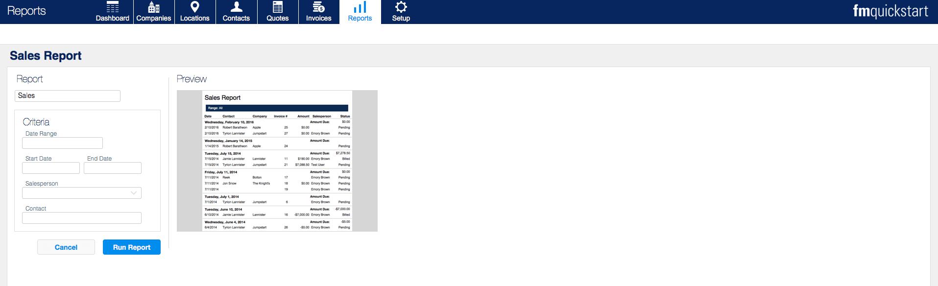 fm quickstart 17 reports