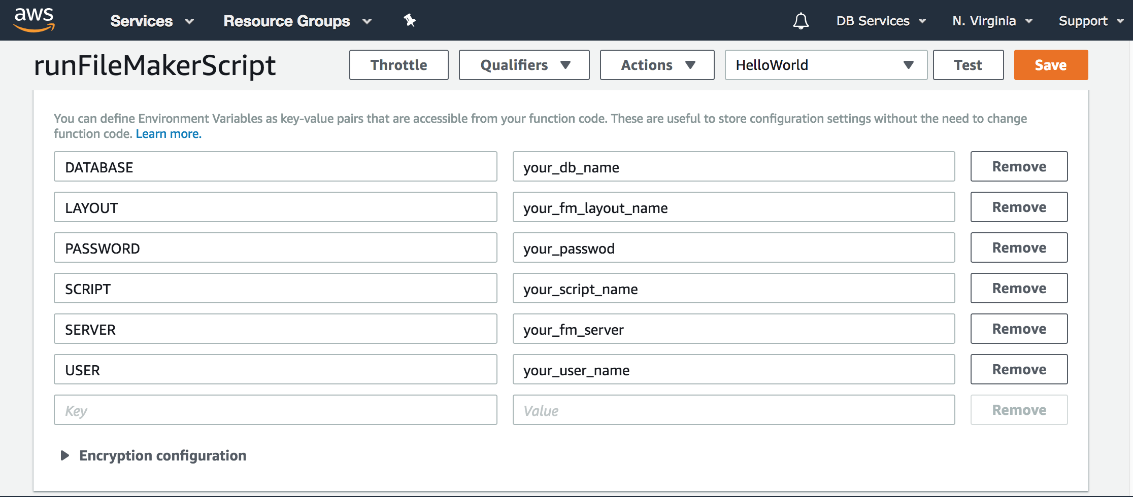AWS Lambda FileMakerの設定