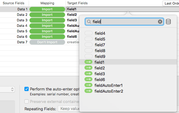 FileMaker Import Dialog Filter Fields