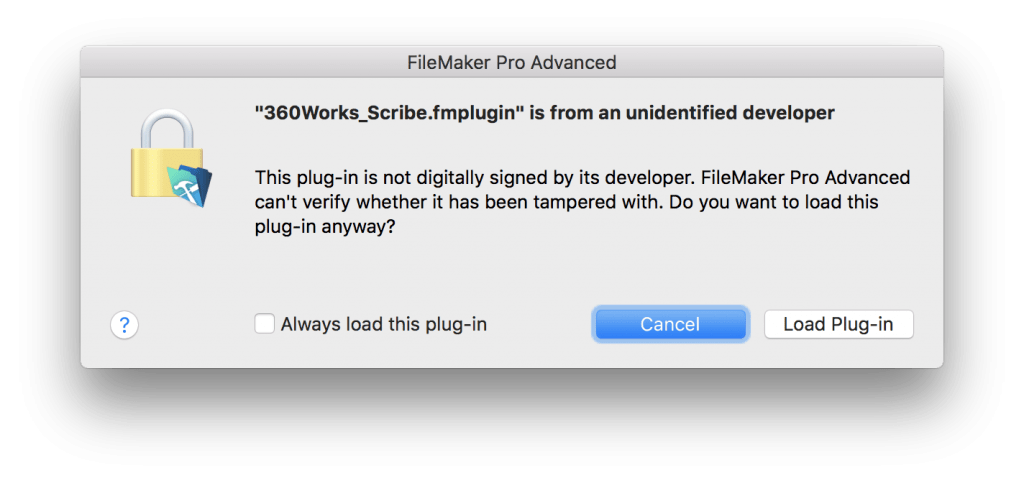 FileMaker Plugin Warning