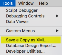 FileMaker Save a Copy as XML