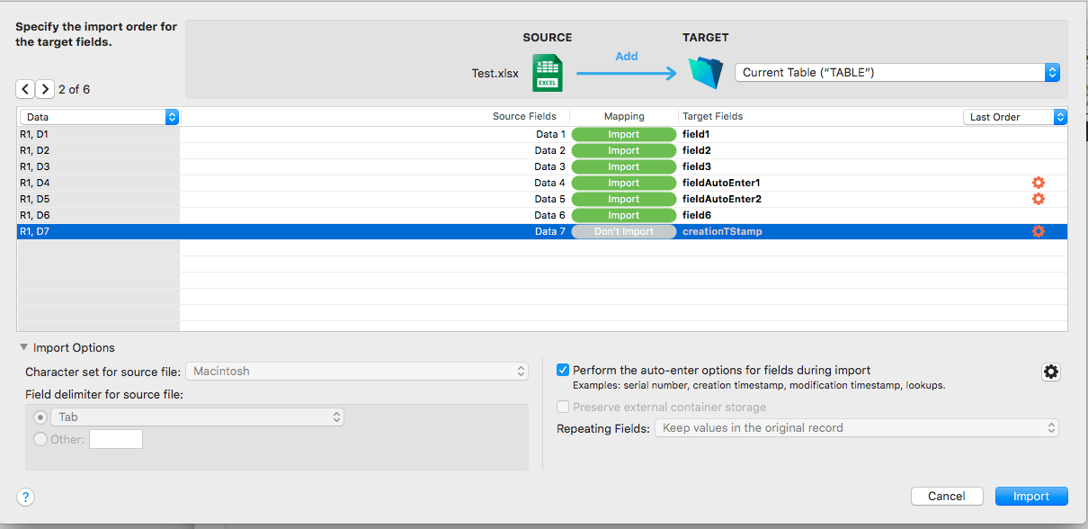 Redesigned FileMaker Import Dialog User Interface