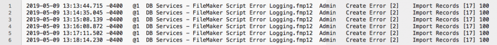 FileMaker Script Error Log