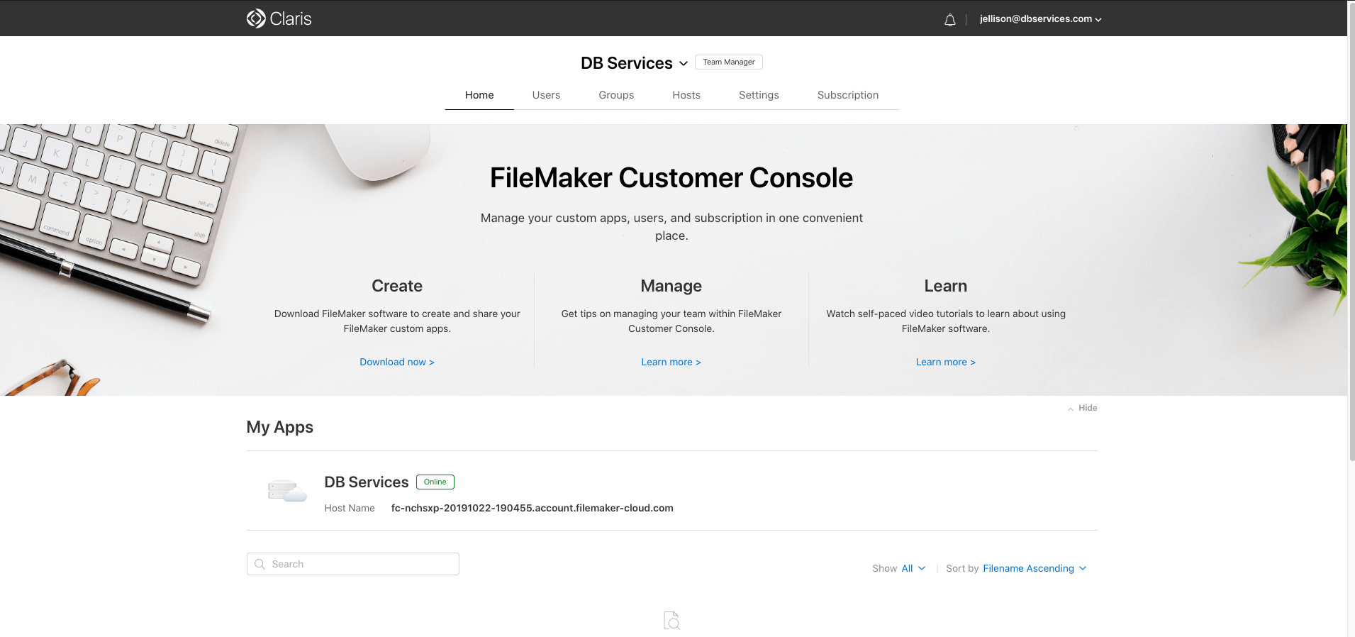 FileMaker Cloud Customer Console
