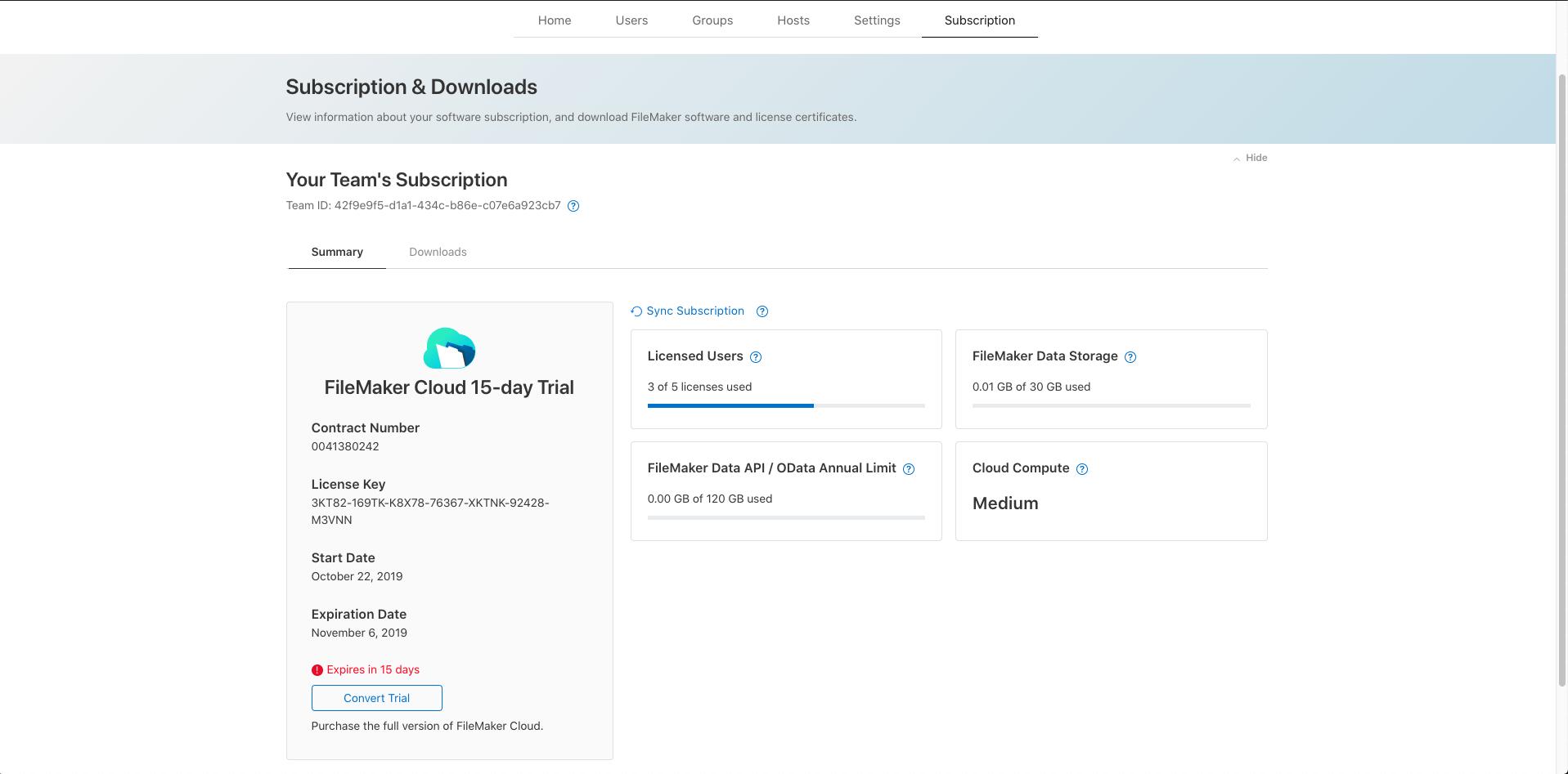 FileMaker Cloud Subscription