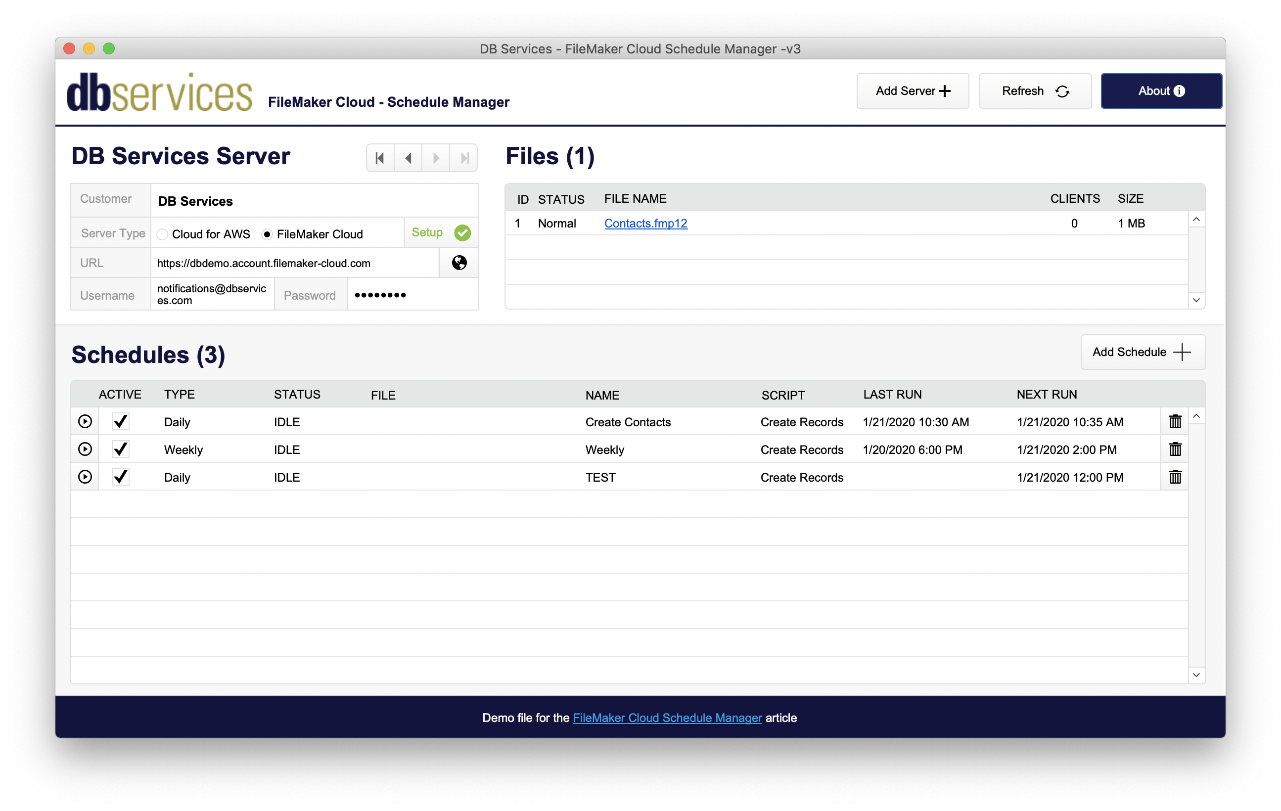 the dashboard of the schedule manager displaying a list of all files and schedules