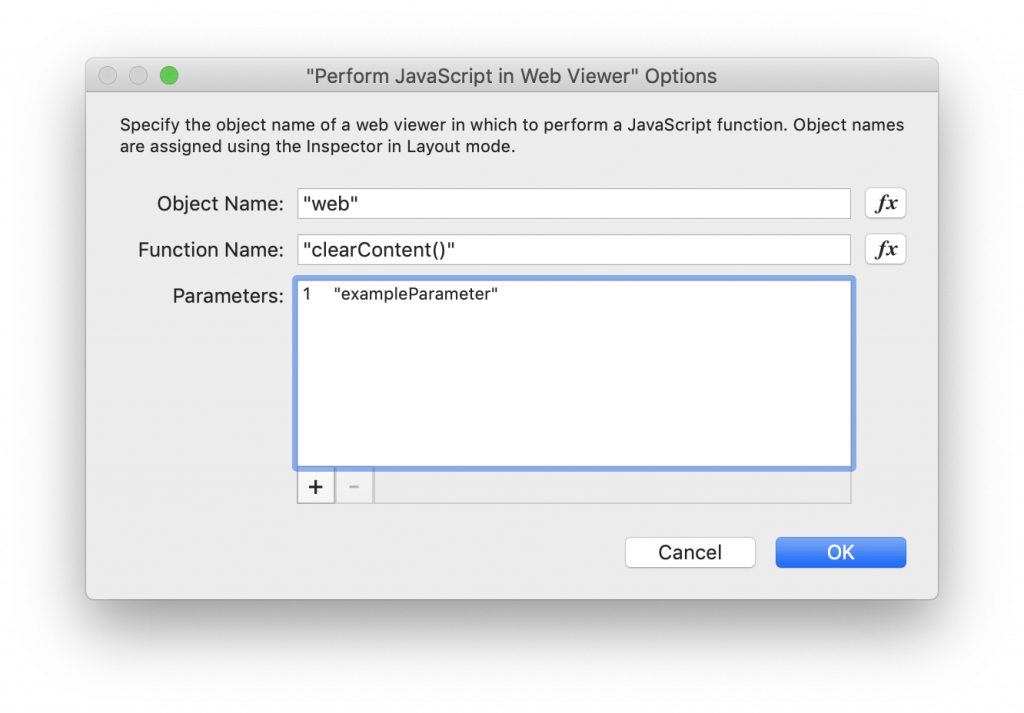 the dialog window display options for the FileMaker script step perform JavaScript in Web Viewer