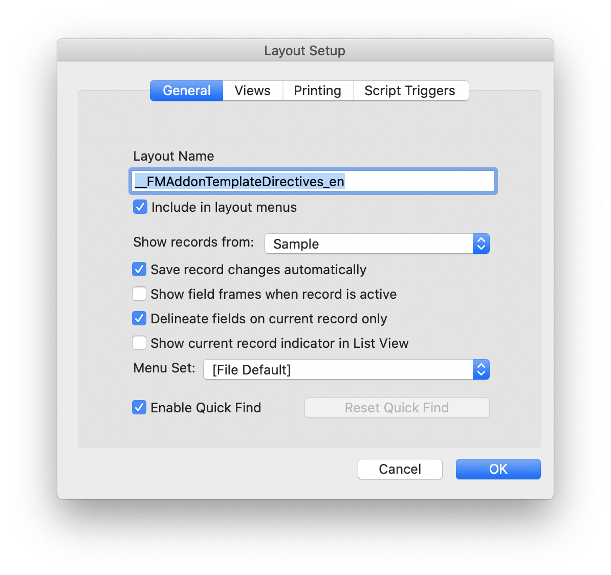 FileMaker Add Ons Template Directives Layout Setup